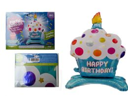 144 Units of Happy Birthday Cupcake Balloon W/ Stand - Balloons & Balloon Holder