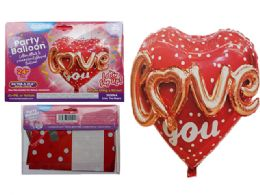144 Units of Love You Foil Balloon Pop-Up - Balloons & Balloon Holder