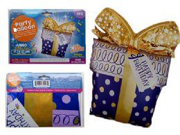 144 Units of Happy Birthday Present Foil Balloon - Balloons & Balloon Holder