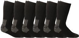 6 Units of Yacht & Smith Men's Heavy Duty Steel Toe Work Socks, Black, Sock Size 10-13 - Mens Crew Socks