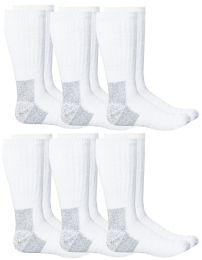 6 Units of Yacht & Smith Men's Heavy Duty Steel Toe Work Socks, White, Sock Size 10-13 - Mens Crew Socks