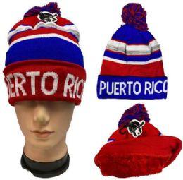 36 Units of Pompom Winter Hat Puerto Rico Plush Lining - Winter Beanie Hats