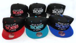 36 Units of Snap Back Flat Bill Jesus Is My Boss A Men Hat - Bucket Hats