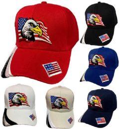 36 Units of Eagle with American Flag Baseball Cap - Bucket Hats