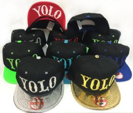 36 Units of Snap Back Flat Bill YOLO Assorted Color - Bucket Hats