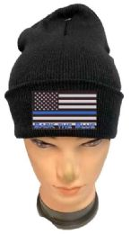 36 Units of Black color Winter Beanie Black the Blue USA Flag - Winter Beanie Hats