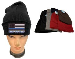 36 Units of Assorted color Winter Beanie Black the Blue USA Flag - Winter Beanie Hats