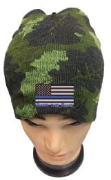 36 Units of Camo color Winter Beanie Black the Blue USA Flag - Winter Beanie Hats