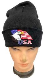 36 Units of Black color Winter Beanie Eagle USA Flag - Winter Beanie Hats