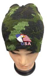 36 Units of Camo Color Winter Beanie Eagle USA Flag - Winter Beanie Hats