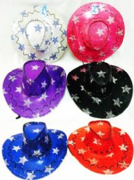 12 Units of Star Sequins Lady Cowboy Hat Assorted Colors - Cowboy & Boonie Hat