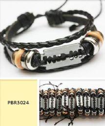 96 Units of Razor Multi Strand Faux Leather Bracelet - Bracelets
