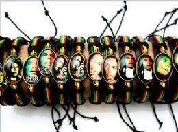96 Units of BOB Marley Picture Faux Leather Bracelet - Bracelets