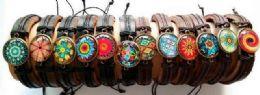 96 Units of Faux Leather Bracelet Mandala Style - Bracelets