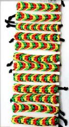 96 Units of Rasta Color Crochet Cord Bracelet - Bracelets