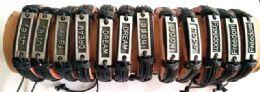 96 Units of Faux Leather Bracelet Faith Dream Hope Freedom - Bracelets