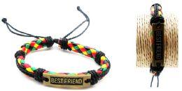 96 Units of Faux Leather Rasta Color Best Friend Bracelet - Bracelets