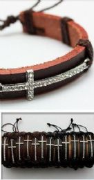 96 Units of Faux Leather Rhinestone Cross - Bracelets