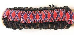 96 Units of Faux Leather Adjustable Bracelet With Rebel Flag Design - Bracelets