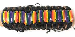 96 Units of Faux Leather Adjustable Bracelet with Rainbow Pride - Bracelets