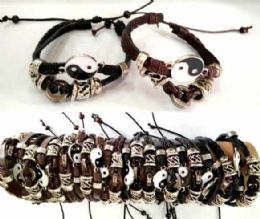 96 Units of Ying Yang Faux Leather Bracelet - Bracelets