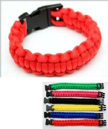 96 Units of Para-cord Survival Bracelet Solid Color - Bracelets