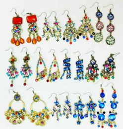 48 Units of Retro Vintage Earring with Stones - Earrings