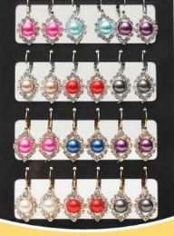 72 Units of Pearl With Rhinestone Stand Earring - Earrings