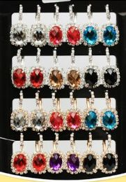 72 Units of Oval Rhinestone Fashion Earring - Earrings