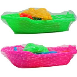 """72 Units of 7"""" BEACH TOY BOAT W/ACSS IN PEGABLE NET BAG, 2 ASSRT - Beach Toys"""