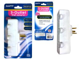 24 Units of Outlet Adapter 3 Plugs White Clr Etl - Chargers & Adapters