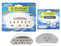 96 Units of 3 Outlet Wall Tap With LED - Chargers & Adapters