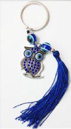 96 Units of Owl Evil Eye Key Chain With Fringe. - Key Chains
