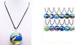 60 Units of Glass Pendant Sea Turtle - Necklace
