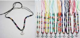 120 Units of Beaded Necklace with Anchor Medallion Assorted Colors - Necklace