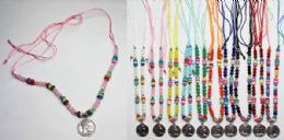 120 Units of Beaded Necklace With Coin Medallion Assorted Colors - Necklace