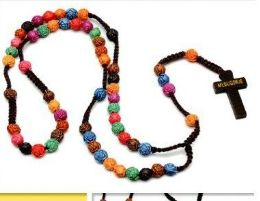 60 Units of Multi Rose Bead Rosary Necklace - Necklace