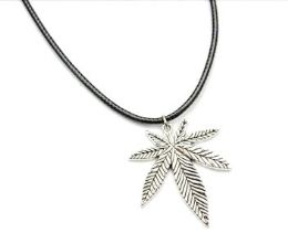 60 Units of Marijuana Leaf Metal Cord Necklace - Necklace