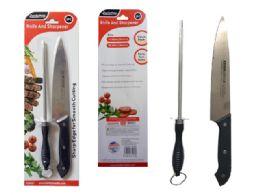 72 Units of 2pc Knife & Sharpener Set - Kitchen Knives