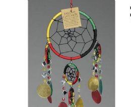 12 Units of 6 inch diameter Rasta Dream Catcher with Beads - Home Decor