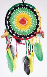 12 Units of Rasta Crochet Dream Catcher 8 Inches - Home Decor