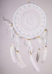 24 Units of Crochet White Dream Catcher 4 inches - Home Decor