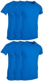 6 Units of Mens Royal Blue Cotton Crew Neck T Shirt Size 3X Large - Mens T-Shirts