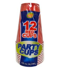 24 Units of 12PC 16OZ RED PARTY CUPS - Party Paper Goods