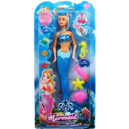 """12 Units of 14"""" MERMAID DOLL W/ ACCSS ON DOUBLE BLISTER CARD, 3 ASSRT - Dolls"""