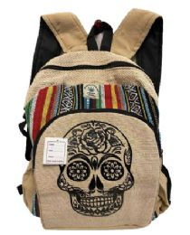 "5 Units of Sugar Skull Himalayan Hemp Handmade Backpacks - Backpacks 15"" or Less"