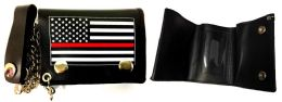 12 Units of Tri-fold Wallet USA Red Line - Leather Wallets