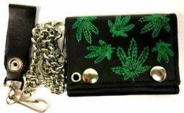12 Units of Marijuana Leaves Printed Leather Chain Tri-Fold Wallet - Leather Wallets