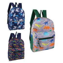 """24 Units of 15"""" Fun Print Boys Backpacks in 3 Assorted Styles - Backpacks 15"""" or Less"""