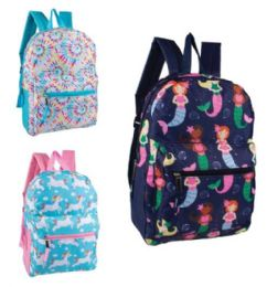 """24 Units of 15"""" Fun Print Girls Backpacks in 3 Assorted Styles - Backpacks 15"""" or Less"""